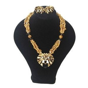 Lee Sands Lion Pendant Necklace and Earrings